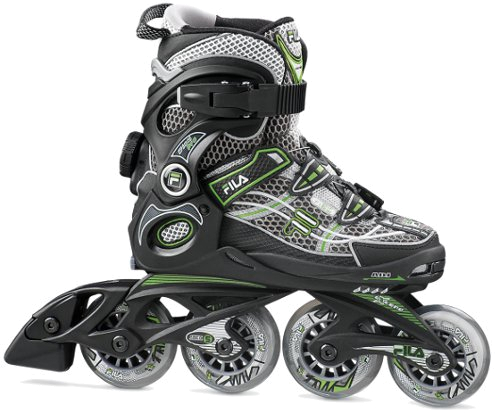 Купить Роликовые коньки FILA 2015 Junior WIZY PRO black/acid green Ролики детские 908568