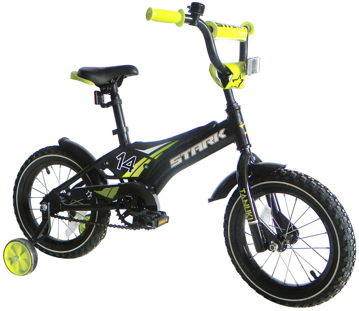 Купить Велосипед Stark Tanuki 14 Boy 2017 Черно-Зеленый, До 6 лет (колеса 12 -18 ), 1317882