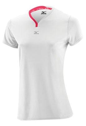 Купить Футболка беговая Mizuno 2013 DryLite V Neck Tee White/Rouge Red Одежда для бега и фитнеса 901925