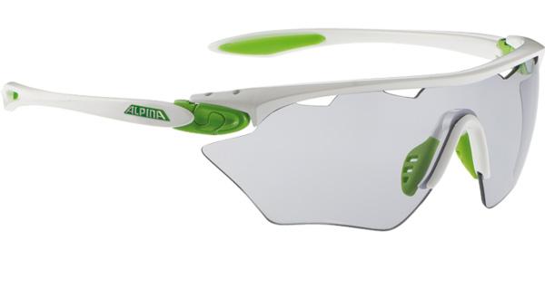 Купить Очки солнцезащитные Alpina PERFORMANCE TWIST FOUR SHIELD VL+ white-green/VARIOFLEX black S1-3 fogstop, солнцезащитные, 1131654