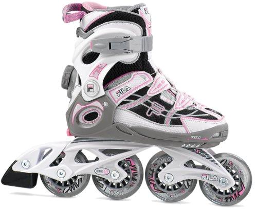 Купить Роликовые коньки FILA Junior WIZY PRO Girl silver/black/pink, Ролики детские, 908573
