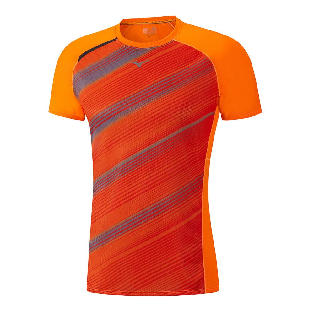 Футболка беговая Mizuno 2017 Premium Aero Tee оранж/т.сер Одежда для бега и фитнеса 1334670  - купить со скидкой