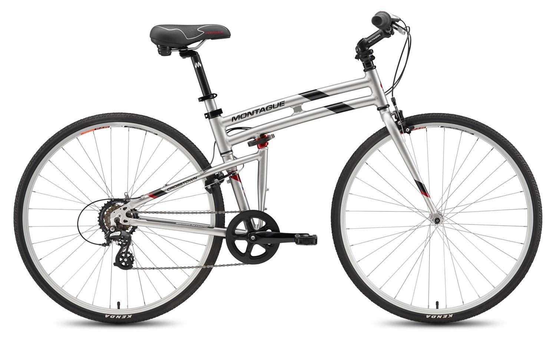 Купить Велосипед MONTAGUE Crosstown 7 Speed 700C 2017 Глянцевый серебристый с черными и красными акцентами, Складные велосипеды, 1340111