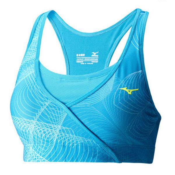 Купить Топ беговой Mizuno 2016 Lotus Bra голубой, Одежда для бега и фитнеса, 1264917