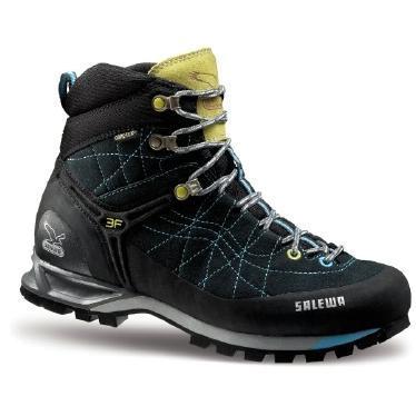 Купить Ботинки для альпинизма Salewa Alpine Approach Womens WS MTN TRAINER MID GTX carbon-turquise, Альпинистская обувь, 896465