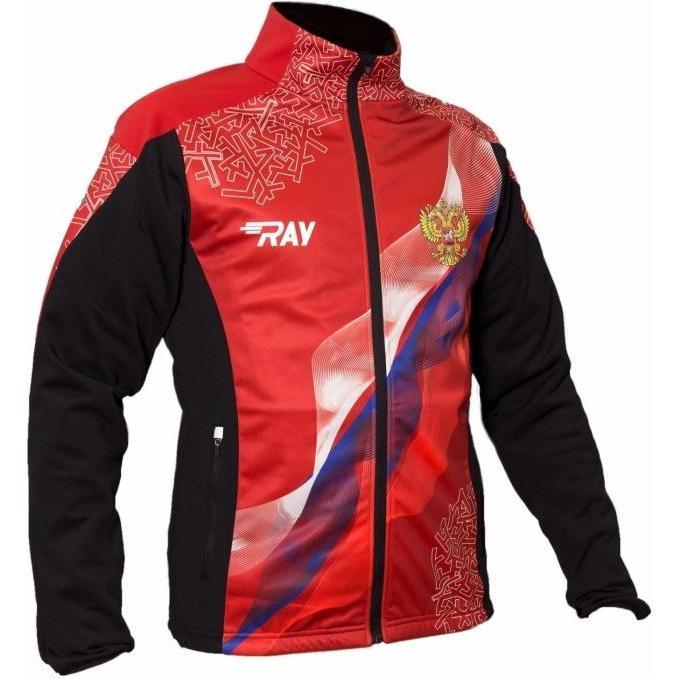Куртка Беговая Ray 2018-19 Pro Race Принт Красный, Флаг Рф