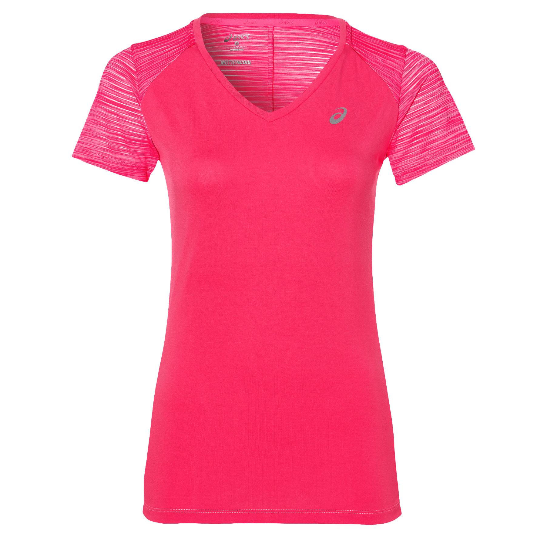 Купить Футболка Беговая Asics 2017 Fuzex V-Neck Ss Top Розовый, женский, Одежда для бега и фитнеса
