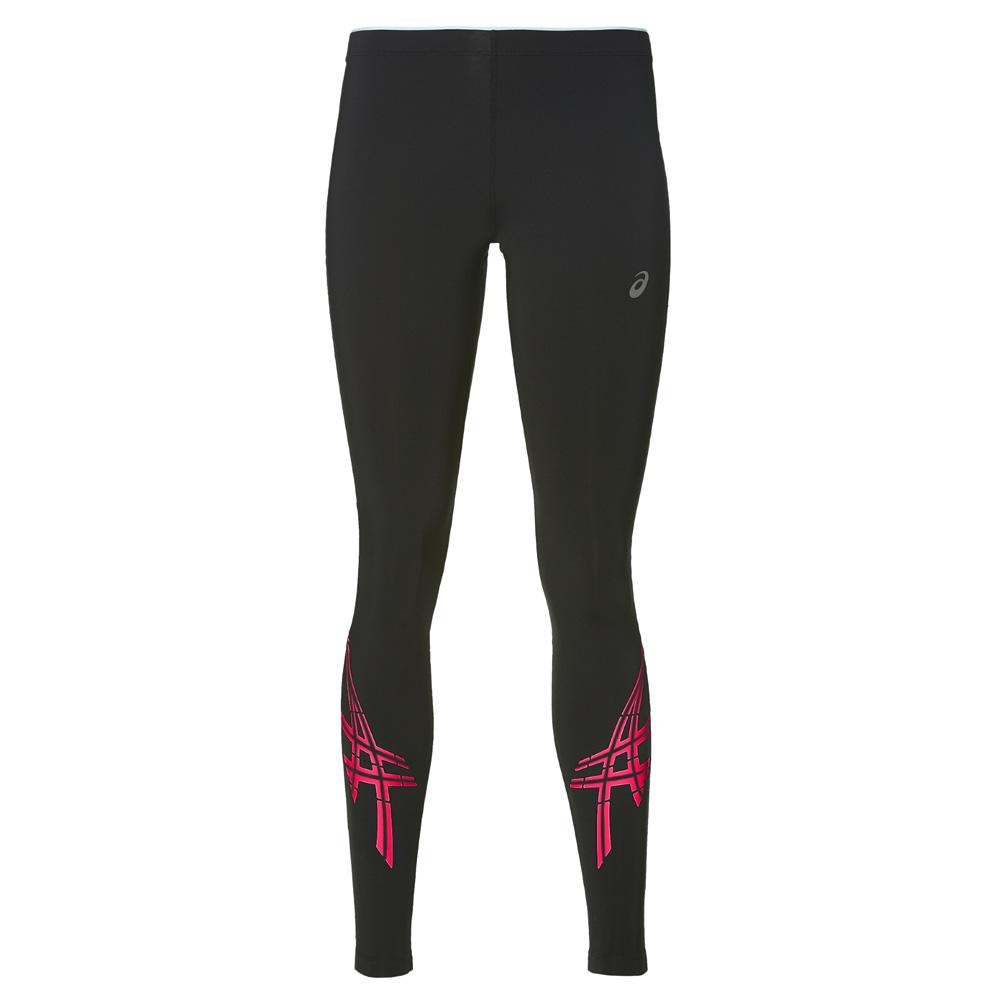 Купить Тайтсы Беговые Asics 2017 Asics Stripe Tight Черный/розовый, женский, Одежда для бега и фитнеса