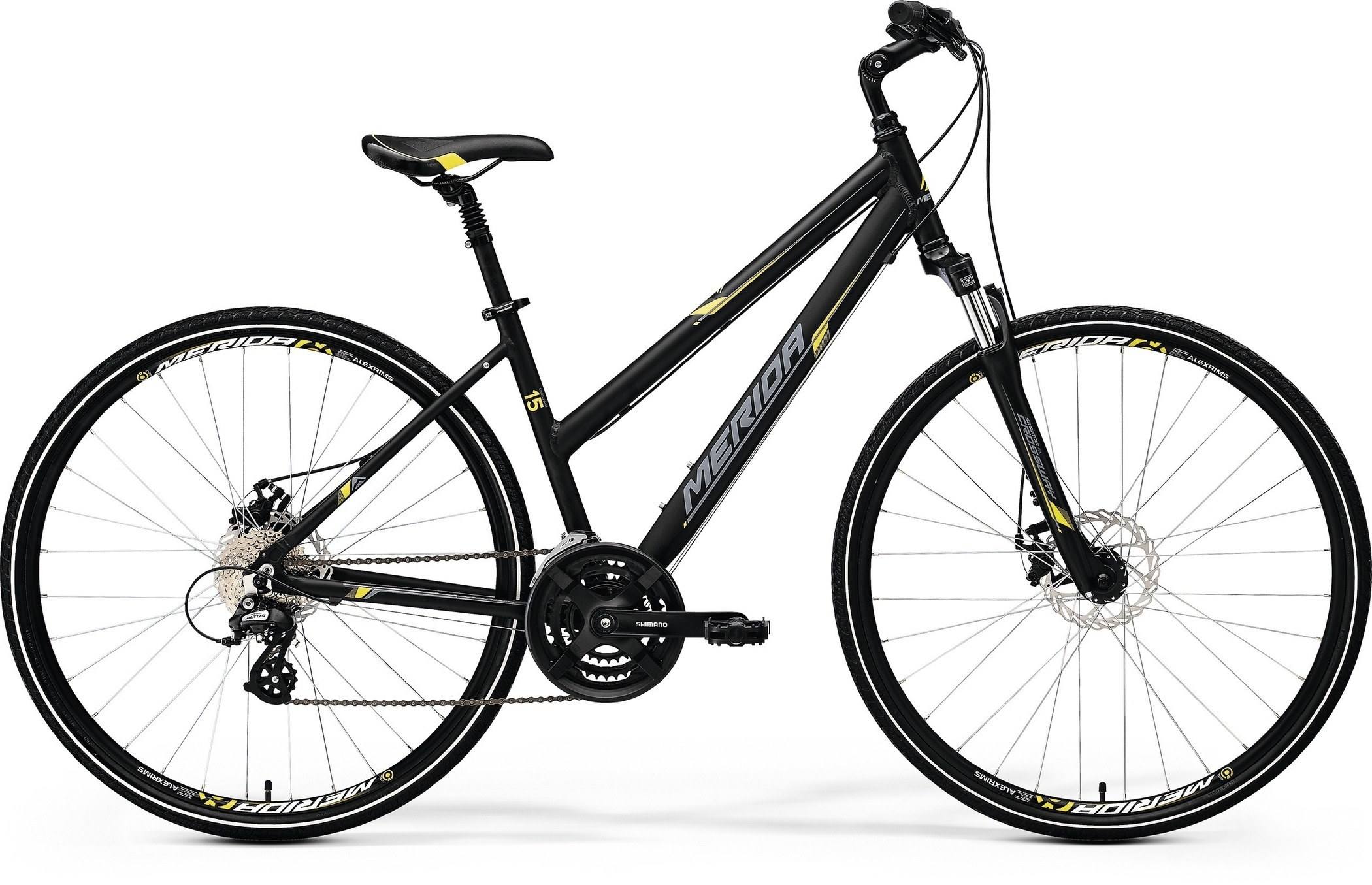 Велосипед Merida Crossway 15-Md-Lady 2017 Matt Black - Yellow/grey