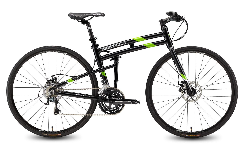 Купить Велосипед MONTAGUE FIT 30 Speed 700C 2017 Глянцевый черный с зелеными акцентами, Складные велосипеды, 1340115