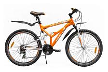 ВелосипедДвухподвесы<br>Двухподвесный начальный велосипед Stark Indy FS 2015. Модель оснащена алюминиевой рамой. Установлены пружинно-эластомерная вилка ZOOM 327, ободные механические тормоза, а также начальное оборудование. Stark Indy FS 2015 прекрасно подойдёт для катания как в городе, так и по пересечённой местности.<br><br>Рама и амортизаторы<br><br>Рама: AL 6061<br>Вилка: ZOOM 327<br><br>Цепная передача<br><br>Манетки: SHIMANO ST-EF51<br>Передний переключатель: SHIMANO RD-TX35/FD-TX50<br>Задний переключатель: SHIMANO RD-TX35/FD-TX50<br>Шатуны: 42/34/24<br><br>Колеса<br><br>Обода: Alloy double wall<br>Bтулка: Quando<br>Покрышка: WANDA 26*1,95<br><br>Компоненты<br><br>Передний тормоз: V-brake alloy<br>Задний тормоз: V-brake alloy<br>Производство: Разработка: Россия. Производство: КНР &amp;#40;Тайвань&amp;#41;.<br><br>Пол: Мужской<br>Возраст: Взрослый