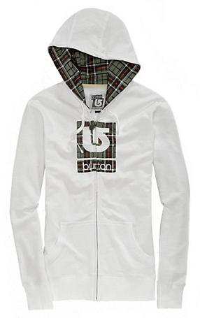 Купить Толстовка для активного отдыха BURTON 2011-12 Womens basic fleece LOGO FILL BASIC FULL-ZIP HOODIE BRIGHT WHITE Одежда туристическая 743178