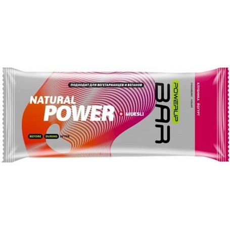 Купить Батончик POWERUP Энергетический батончик FRUIT+NUTS 50г. MUESLI клубника, йогурт Спортивное питание 1313146