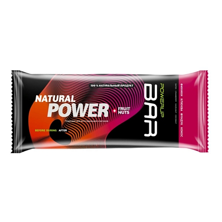 Купить Батончик POWERUP Энергетический батончик FRUIT+NUTS 50г. финики, клюква, фундук, кокос Спортивное питание 1313148