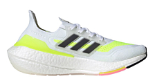 Беговые кроссовки Adidas Ultraboost 21 W Ftw White/Core Black/Solar Yellow
