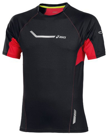 Футболка беговая Asics 2013 SS STRETCH TOP Черный/Красный