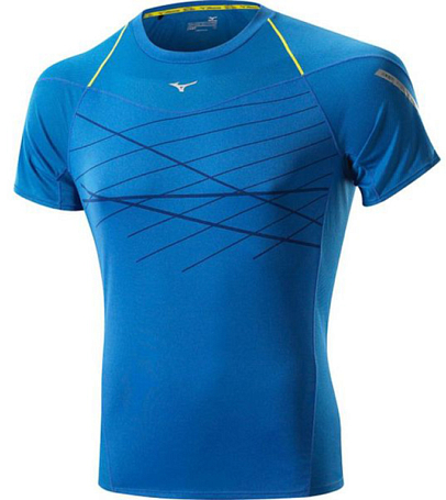 Купить Футболка беговая Mizuno 2014 DryLite Cooltouch Tee син, Одежда для бега и фитнеса, 1139427