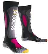 НоскиНоски<br>Женские горнолыжные носки X-Socks Ski Carving Silver плотно облегают обувь, ваши ноги будут находится в максимально комфортных условиях.<br><br>Бактериостатическая ткань с серебряными волокнами Silver NODOR® особо эффективно препятствует размножению бактерий и распространению неприятного запаха пота. Обладает хорошей воздухопроницаемостью, износостойкая, эластичная и мягкая на ощупь.<br><br>В носках применяется натуральная шерсть овец-мериносов Merino Wool - обладающая высокими теплоизоляционными свойствами, чрезвычайно мягкая и приятная на ощупь.<br><br>Многоцелевая ткань Robur™ состоит из полых волокон с герметичной воздушной камерой. Ткань дышащая и эластичная. Защищает от ударных нагрузок и давления. Применяется в зонах, особо подверженных образованию потёртостей и ссадин - ахиллово сухожилие, подошва, голеностопный сустав, голень. Ткань Robur™, сотканная из трёхжильной плетёной нити, чрезвычайно прочная и износостойкая.<br><br>Mythlan™ - ультралегкий, дышащий материал с микроволокнистой структурой. Легчайший среди высокотехнологичных материалов. Ткань Mythlan™ не накапливает влагу и способствует эффективному процессу её испарения с внешней поверхности. Имеет нейтральное значение pH и гипоаллергенна.