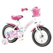 ВелосипедДо 6 лет (колеса 12-18)<br>Volare Giggles - четырехколесный велосипед для девочек с ярким жизнерадостным дизайном в бело-розовых тонах. <br><br>Особенности:<br><br>- Удобное мягкое седло и руль регулируются по высоте<br>- Спереди на руле установлена небольшая пластиковая корзинка для необходимых вещей<br>- В дополнении к велосипеду идут крылья, защита цепи и звонок<br>- Для обучения катанию предусмотрены приставные колесики, которые при необходимости можно снять<br><br>Технические характеристики:<br><br>Рама: Сталь<br>Руль: Сталь<br>Тормоза: Задний ножной/передний ручной<br>Манетки: нет<br>Задний переключатель: нет<br>Обода: Сталь<br>Диаметр колес: 12 дюймов<br>Вес: 8.7 кг<br>Гарантия на раму: 2 года<br>Гарантия на амортизаторы: 6 месяцев<br>Гарантия на навесное оборудование: 6 месяцев<br>
