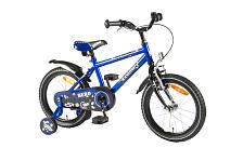 ВелосипедДо 6 лет (колеса 12-18)<br>Яркий велосипед KANZONE BOY отличается динамичным силуэтом в сочетании с высокой степенью надежности и удобства. Жизнерадостный синий цвет дополнен черными и белыми элементами; рама, руль и обода изготовлены из стали. Есть два вида тормоза: передний ручной и задний ножной, а для совсем юных велосипедистов, еще неуверенно держащихся в седле, — дополнительные съемные колеса для обучения.<br><br>Особенности:<br><br>- Велосипед для маленьких героев - веселый, жизнерадостный и яркий<br>- Сине - черная гамма, спортивный силуэт, динамичный и надежный<br><br>Технические характеристики:<br><br>Рама: Сталь<br>Руль: Сталь<br>Тормоза: Задний ножной/передний ручной<br>Манетки: нет<br>Задний переключатель: нет<br>Обода: Сталь<br>Диаметр колес: 16 дюймов<br>Гарантия на раму: 2 года<br>Гарантия на амортизаторы: 6 месяцев<br>Гарантия на навесное оборудование: 6 месяцев<br>