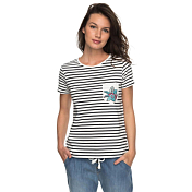 Футболка для активного отдыха Roxy 2018 BAHAMAS COTT A J TEES ANTHRACITE BASIC BICO STRIPES