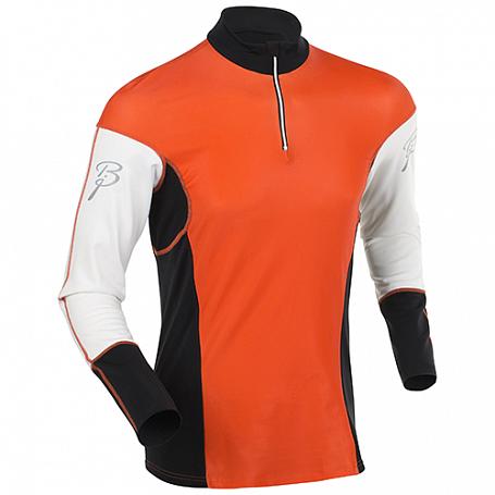 Купить Футболка с длинным рукавом беговая Bjorn Daehlie JACKET/PANTS Top NEW FINNMARK Shocking Orange/Snow White (Оранжевый/белый) Одежда для бега и фитнеса 1103376