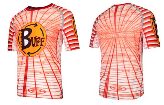 Купить Футболка беговая BUFF T-SHIRT S.SL. IRON (WHITE) белый/оранжевый Одежда для бега и фитнеса 759560