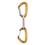 Карабин с оттяжкойКарабины<br>Карабин с оттяжкой.<br> Оттяжка со стропой подходящей длины предотвращает самопроизвольное выстегивание веревки и позволяет спрямить страховочную цепь - иными словами, уменьшить изгибы и трение на каждой страховочной точке.<br> <br> - Вес: 74 г<br> - Максимальная нагрузка: 22 kN<br> - Размеры: 100 x 10 мм<br> - Сертификация: EN 566