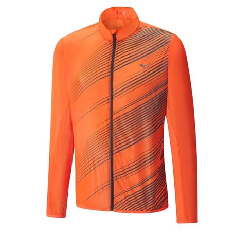 Купить Куртка беговая Mizuno 2017 Premium Aero Jacket оранж/т.сер, Одежда для бега и фитнеса, 1334666