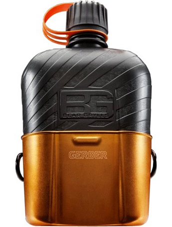 Фляга с котелком GERBER 2015 Bear Grylls Canteen Water Bottle with Cooking Cup (Blister)