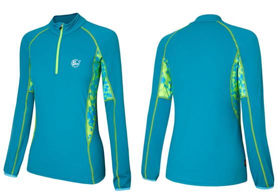 Купить Футболка с длинным рукавом беговая BUFF T-SHIRT L.SL. RANDA (TEAL) бирюзовый/салатовый Одежда для бега и фитнеса 759404