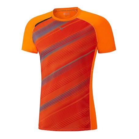 Купить Футболка беговая Mizuno 2017 Premium Aero Tee оранж/т.сер Одежда для бега и фитнеса 1334670