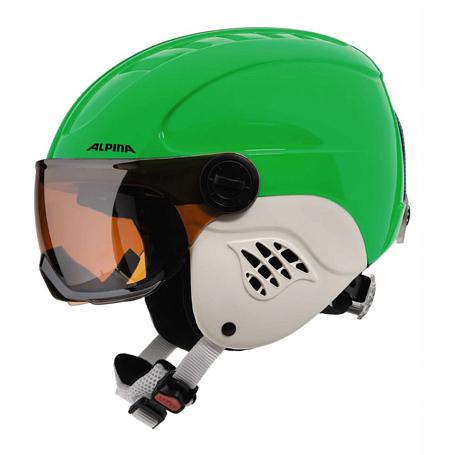 Купить Зимний Шлем Alpina CARAT VISOR green-blue asym, Шлемы для горных лыж/сноубордов, 1225752