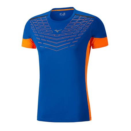 Купить Футболка беговая Mizuno 2017 Cooltouch Venture Tee син/оранж, Одежда для бега и фитнеса, 1334675