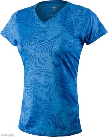 Купить Футболка беговая Asics 2015 Allover Graphic Top SS Синий с принтом Одежда для бега и фитнеса 1182966