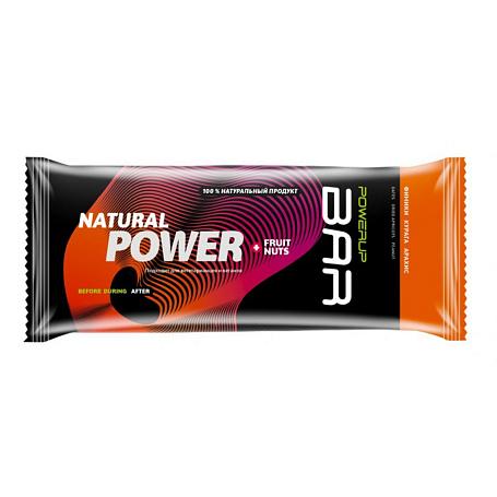 Купить Батончик POWERUP Энергетический батончик FRUIT+NUTS 100г. финики, курага, арахис Спортивное питание 1340364