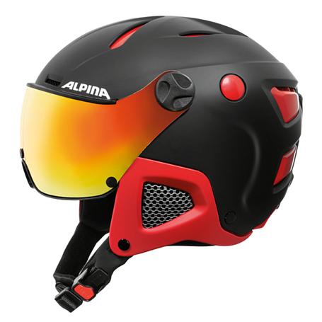 Купить Зимний Шлем Alpina ATTELAS Visor QVM black-red matt Шлемы для горных лыж/сноубордов 1279905