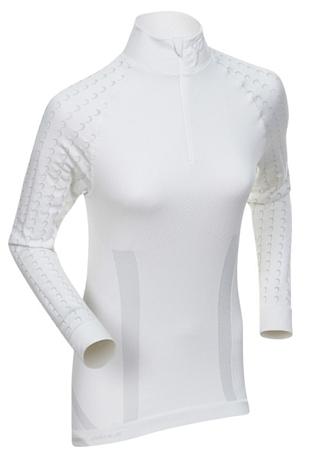 Купить Футболка с длинным рукавом беговая Bjorn Daehlie Half Zip MOTIVATOR Women Snow White/Ebony (белый/св. серый) Одежда лыжная 775036