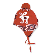 ШапкаГоловные уборы<br>Теплая шапочка с декоративным помпоном, удлиненные ушки на завязках. Флисовая повязка с внутренней стороны для утепления, мембрана Windstopper для защиты от ветра. <br>Состав пряжи: 50% мериносовая шерсть, 50% акрил<br>Цвет: красный