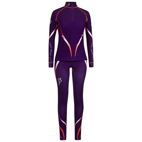 Комплект беговой Bjorn Daehlie Racesuit VICTORIAN 2-piece  Women Acai/Shocking Orange (т.фиолетовый/оранж)