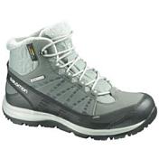 Ботинки городские (высокие)Обувь для города<br>Утепленные треккинговые женские ботинки Salomon Kaina CS WP W сочетают в себе непромокаемую защиту мембраны Climashield,тепло и дизайн. Идеальны для холодной городской погоды или прогулок по горным курортам. <br>Продуманная система шнуровки с крючками в верхней части обеспечивает надежную фиксацию и оптимальный обхват для женской ноги; Особый женский дизайн; Непромокаемая мембрана Climashield; Непромокаемая конструкция со вшитым язычком; Защита от грязи Mud Guard; Вставка из вспененного пластика в пятке; Синтетическая защитная накладка на мыске; Не оставляющая следов подошва Contagrip обеспечивает оптимальное сцепление на разных поверхностях и состоит из идеального сочетания специальных резин; <br>Защита от влаги: WP -мембранаНазначение обуви: зимняя городская обувь, спорт стиль<br><br>Пол: Женский<br>Возраст: Взрослый