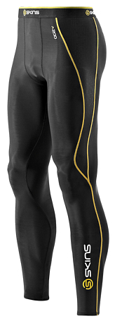 Тайтсы беговые SKINS 2015 A200 Mens Long Tights Black/Yellow