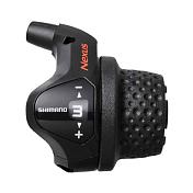 ШифтерТрансмиссия<br>Легкое переключение поворотом ручки не зависит от силы пальцев и позволяет Вам держать руки на руле. Циферблатный индикатор передач позволяет легко определить положение передач с первого взгляда. Нет необходимости последовательно переключаться на каждую передачу, просто поверните ручку на нужную передачу.<br><br>Модель: SL-3S41<br>Количество скоростей: 3<br>Тип: RevoShift<br>Длинна троса: 1800 мм<br>Цвет: Черный