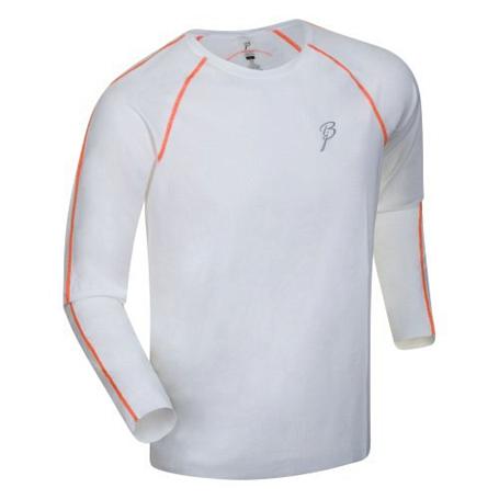 Купить Футболка с длинным рукавом беговая Bjorn Daehlie LS INTENSITY (bright white/shocking orange) белый/оранж, Одежда для бега и фитнеса, 831105