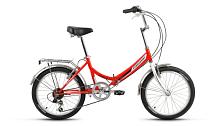 ВелосипедСкладные велосипеды<br>Велосипед для комфортного катания в городе.<br> <br> Особенности:<br> <br> - Комфортная посадка для прогулок по городу и за городом<br> - Top Tube: сечение верхней трубы<br> - Down Tube: сечение нижней трубы<br> <br> Страна производства: Россия<br> Вес: 15,0 кг<br> Рама<br> Материал/тип рамы: Сталь Hi-Ten<br> Ростовкa рамы: 14<br> Амортизация<br> Тип амортизации: Жесткая вилка<br> Вилка: Жесткая стальная<br> Рулевой узел<br> Рулевая колонка: Neco, 1, резьбовая<br> Вынос руля: Резьбовой стальной хромированный<br> Руль: Стальной хромированный, комфорт<br> Регулируемая высота: Да<br> Тормозная система<br> Тип тормозов: Ободные (V-Brake)<br> Тормоза: Promax TX-119<br> Трансмиссия<br> Количество скоростей: 6<br> Тип переключателя ск.: Обычный переключатель<br> Задний переключатель: Shimano Tourney TY TY21B<br> Тип шифтеров / манеток: Вращающаяся ручка<br> Шифтеры / манетки: Shimano Tourney RS35<br> Каретка: Neco, стальная<br> Система шатунов: Golden Swallow GS-S112, стальная<br> Трещотка / кассета: Трещотка Kangyue KFW-660<br> Цепь: KMC HV500 RO<br> Колеса<br> Размер колес: 20<br> Втулки: Задняя: Joytech / Передняя: Shunfeng, стальные хромированные<br> Материал и тип ободов: Алюминиевые двустеночные<br> Обода: Forward DW, крашеные<br> Покрышки: Forward, 20x1,95 (30tpi)<br> Дополнительно<br> Седло: Cionlli Comfort<br> Подседельный штырь: Сталь, 28,6x400 мм<br> Крылья: Полноразмерные стальные хромированные<br> Багажник: Стальной с зажимом хромированный<br> Возможность крепления багажника: Есть<br> Подножка: Есть<br> Звонок: Есть<br> Возможность установки передней корзины: Есть<br> Передний и задний катафот: Есть<br> <br> Рекомендуемые аксессуары: