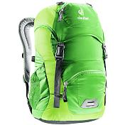 РюкзакРюкзаки детские<br>Детский туристический рюкзак с продуманной конструкцией подвески&amp;nbsp;<br> <br> <br> - Удобная мягкая спинка хорошо вентилируется.<br> - S-образные плечевые лямки с мягкими краями.<br> - Регулируемый нагрудный ремень.<br> - Два боковых сетчатых кармана.<br> - Именная бирка внутри.<br> - Отражатель 3M спереди и большой отражатель на переднем кармане для повышения безопасности.<br> - Аварийный свисток на нагрудном ремешке, два передних кармана на молнии.<br> - Петля для крепления сигнального фонарика.<br> - D-образное кольцо на верхнем клапане для подвески трофеев.<br> - Размер: 43 х 24 х 19 см<br> - Материал: Deuter-Microrip-Nylon / Deuter-Polytex<br> - Подвеска: Deuter Airstripes System Daypack<br> - Объем 18 л<br> - Вес 420 гр