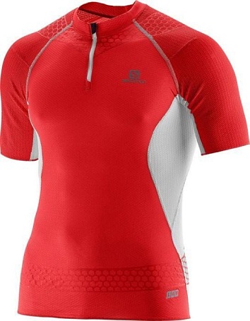 Футболка беговая SALOMON 2015-16 S-LAB EXO ZIP TEE M RACING RED