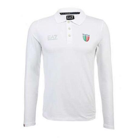 Купить Поло для активного отдыха EA7 Emporio Armani 2013-14 SOCHI ITALIA TEAM M LS POLO белый, Одежда туристическая, 1028104