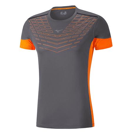 Купить Футболка беговая Mizuno 2017 Cooltouch Venture Tee т.сер/оранж Одежда для бега и фитнеса 1334676