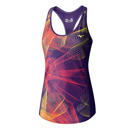 Купить Майка беговая Mizuno 2016 Multi Lotus Tank пурпур/мульти Одежда для бега и фитнеса 1264926